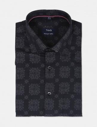 TAG printed black hue slim fit shirt