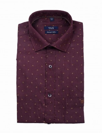 TAG printed pattern slim fit purple shirt