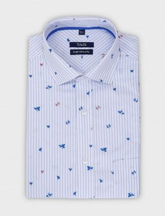 TAG sky blue cotton printed and stripe shirt