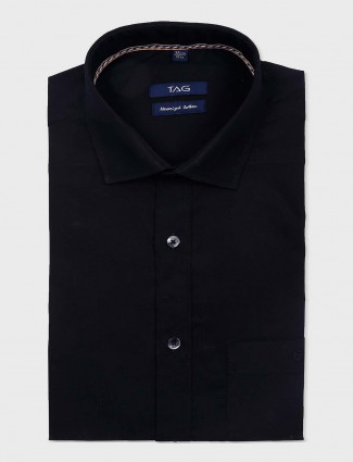 TAG solid black hue formal wear shirt