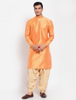 Tangerine orange cotton silk kurta with patiala
