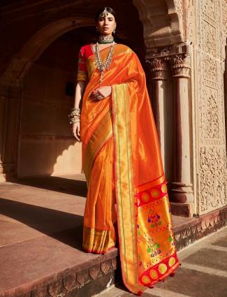 Tangerine orange wedding silk saree