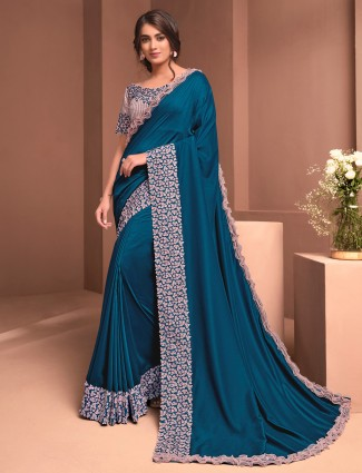 Teal blue colour silk georgette for party function