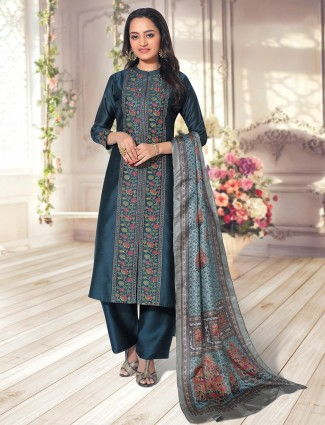 Teal blue cotton palazzo suit for festive wear