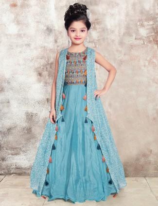 Teal blue floor-length anarkali suit for girls
