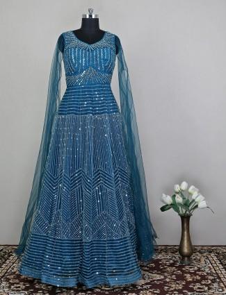 Teal blue net wedding functions wear for women