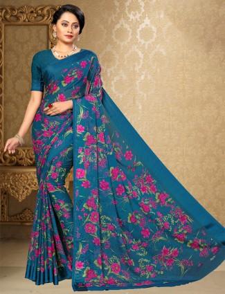 Teal blue printed chiffon satin saree for festive wear