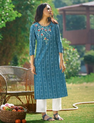 Teal blue printed kurti for day to day look in cotton