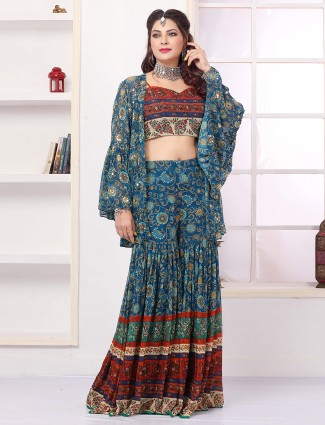 Teal blue printed sharara suit in georgette for reception