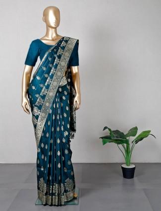 Teal blue silk wedding wear saree
