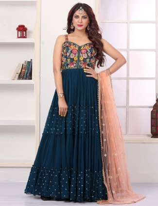 Teal-blue thread decorated anarkali suit with contrast dupatta