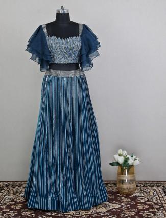 Teal blue tint wedding wear lehenga with cutdana work details