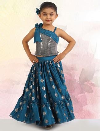 Teal blue wedding wear choli suit for girls