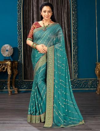 Teal green chiffon saree for festive wear