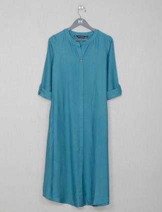 Teal green cotton casual wear kurti