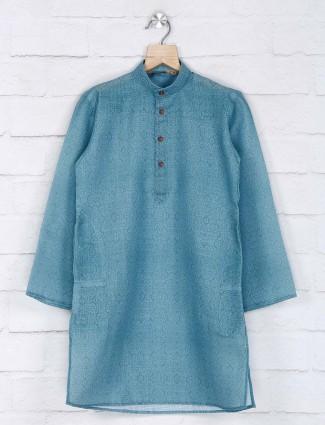 Teal green cotton festive kurta suit