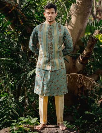 Teal green cotton silk waistcoat set