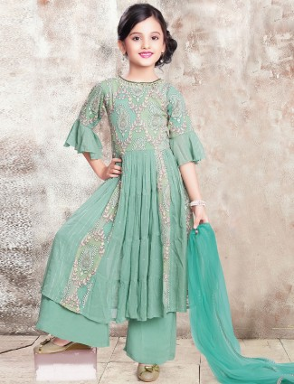 Teal green georgette wedding wear punjabi style palazzo suit