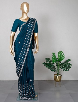 Teal green saree for festive days