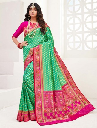 Teal green zari weaved wedding saree