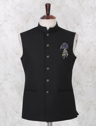 Terry rayon black solid mens waistcoat
