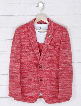 Terry rayon blazer in red