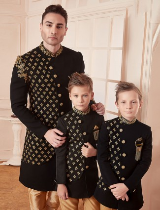 Terry rayon fabric black designer father son indo western