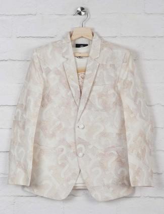 Terry rayon fabric cream printed blazer