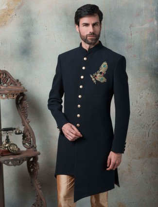 Terry rayon fabric navy hue indo western for party