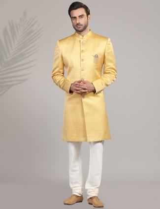 Terry rayon gold indo western wedding wear