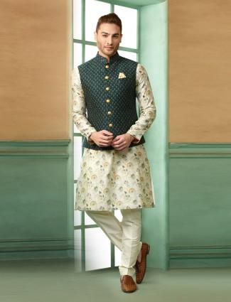 Terry rayon green and cream hue printed waistcoat set