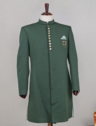 Terry rayon green indo fusion sherwani for mens
