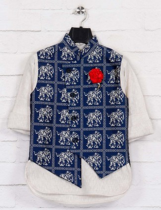 Terry rayon navy and beige party waistcoat