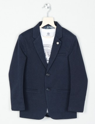 Terry rayon navy blazer with t-shirt