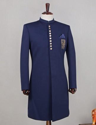 Terry rayon navy blue designer indowestern sherwani for mens
