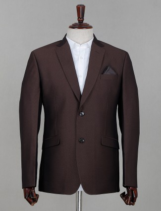 Terry rayon solid dark brown mens coat suit