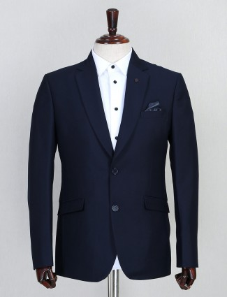 Terry rayon solid navy mens coat suit