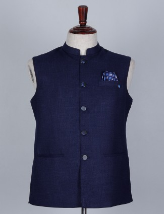 Terry rayon waistcoat in navy blue color