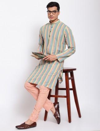 Thread decorated multi-shade kurta set for men