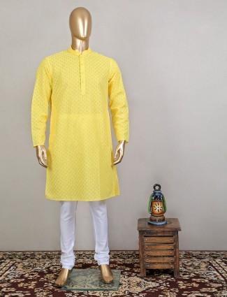 Thread decorated yellow shade cotton kurta suit for men