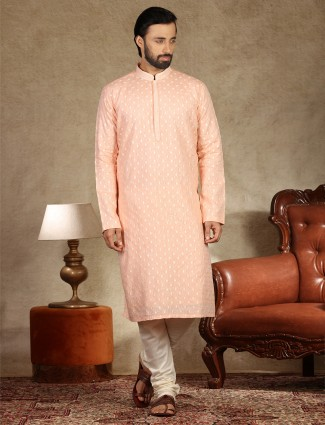 Thread worke peach linen kurta suit for mens