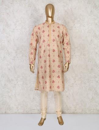 Thread woven beige coton festive wear kurta suit