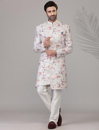 Thread woven grey wedding wear silk indo western