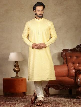 Thread woven yellow coton festive wear kurta suit