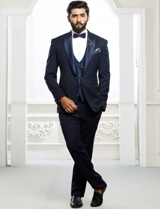 Three piece designer navy hue tuxedo suit