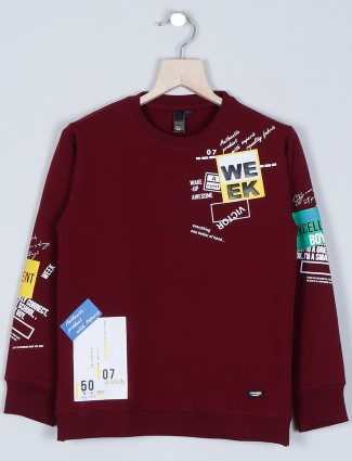 Timbuktu maroon shade t-shirt for boys in cotton