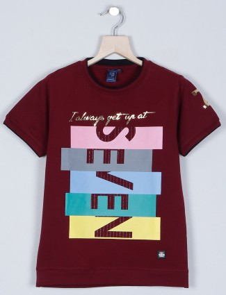 Timbuktu printed style maroon t-shirt for boys