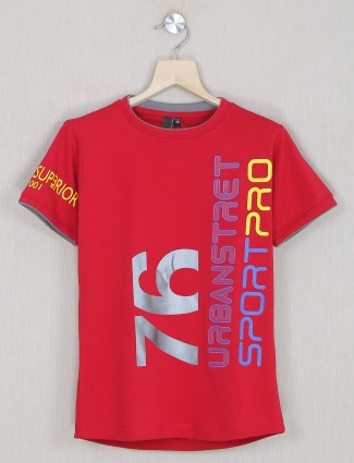 Timbuktu red cotton casual t-shirt for boys