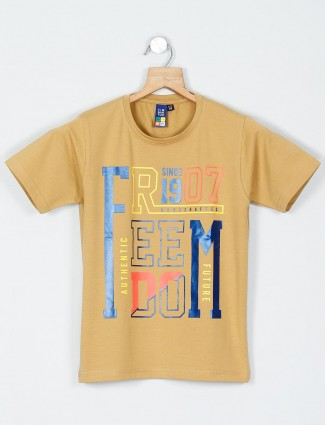 Timbuktuu beige printed casual t-shirt