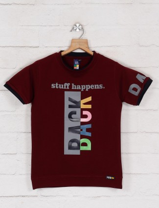 Timbuktuu maroon cotton printed t-shirt for boys